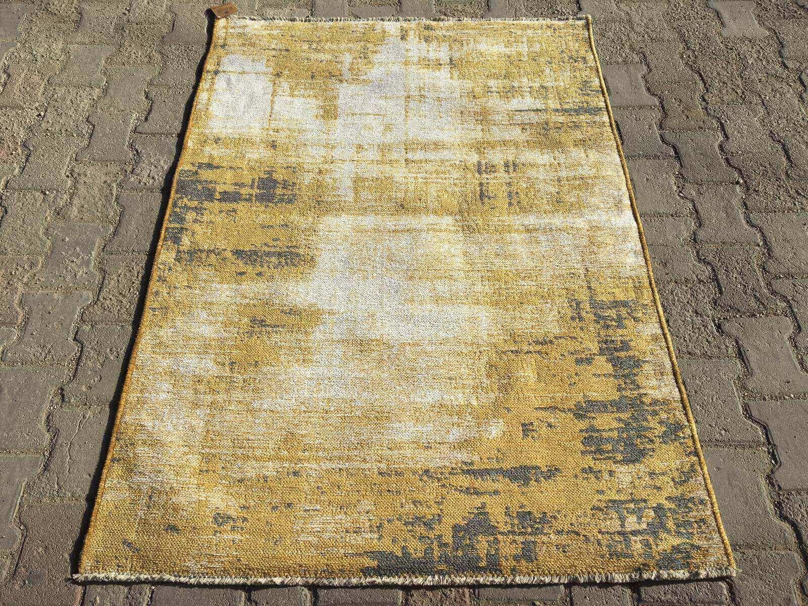COTTON LÜX KİLİM GRİ SARI 120X180 Cotton Lux Kilim Dekoratif Kilim