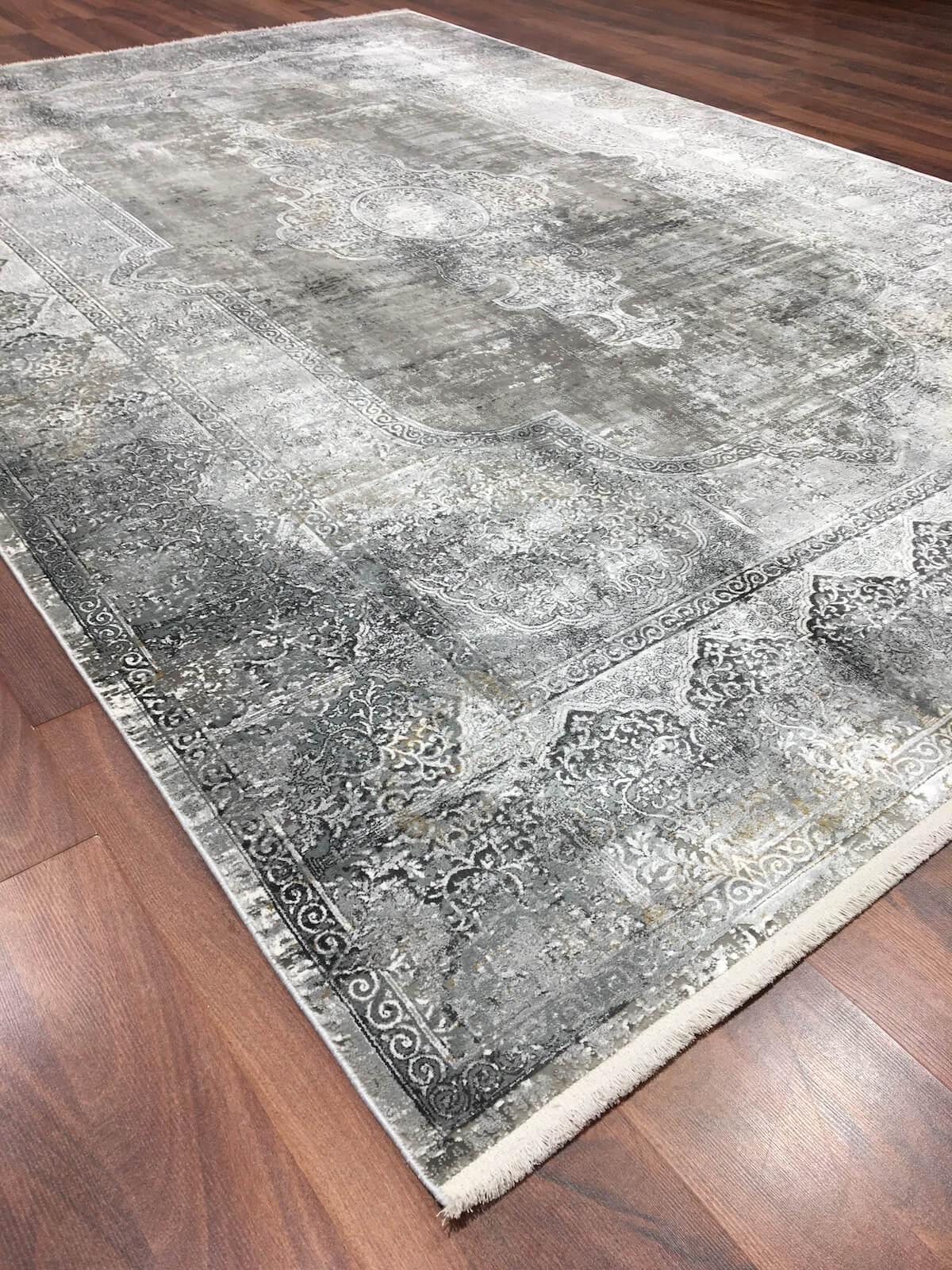 WOOLKNOT HALI OVERDYE DARK GREY 1903 Woolknot Halı Bambu Halı