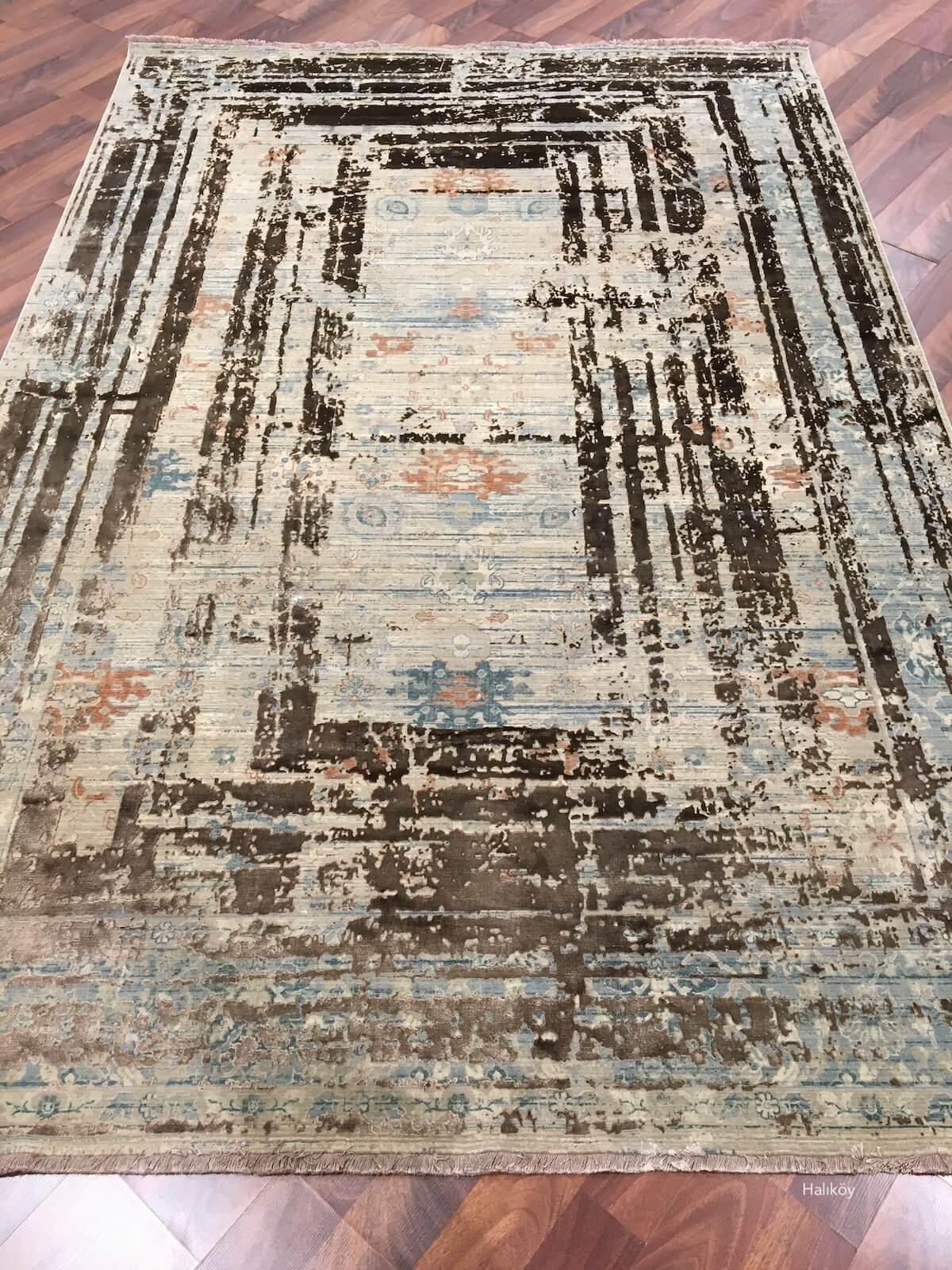 WOOLKNOT HALI HİSTORİA 3021A COPPER 527 Woolknot Halı Bambu Halı